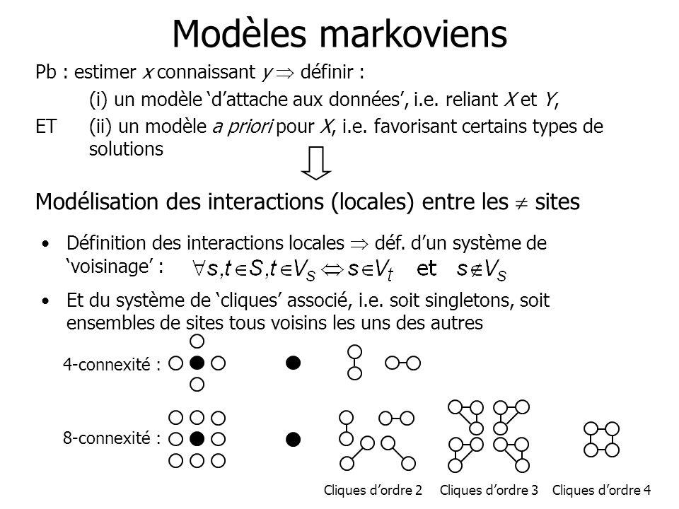 Modèles markoviens Pb : estimer x connaissant y  définir : (i) un modèle 'd'attache aux données', i.e. reliant X et Y,