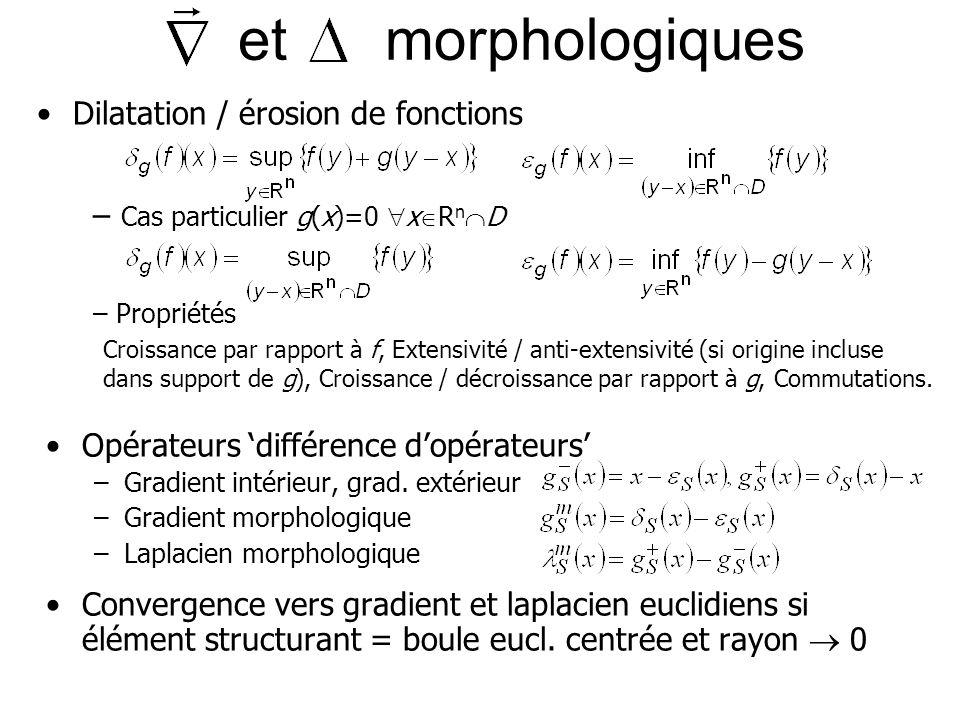 et morphologiques Dilatation / érosion de fonctions