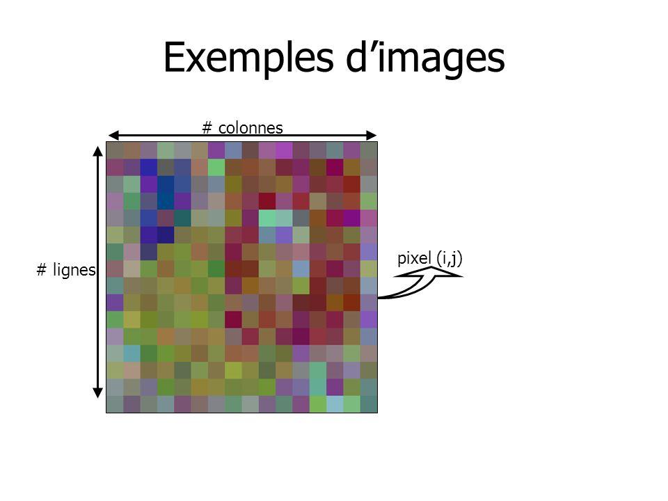 Exemples d'images # colonnes # lignes pixel (i,j)