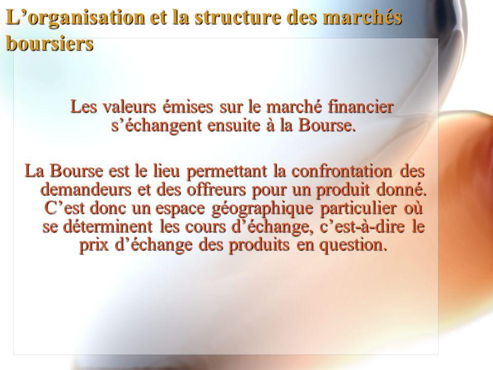 L'organisation et la structure des marchés boursiers
