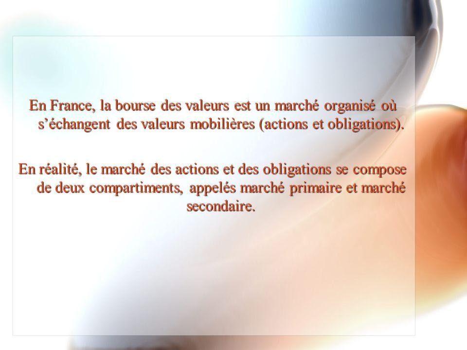 En France, la bourse des valeurs est un marché organisé où s'échangent des valeurs mobilières (actions et obligations).