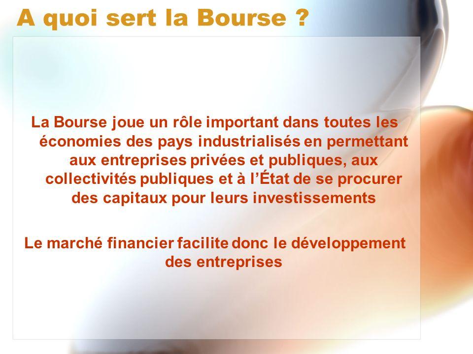 Le marché financier facilite donc le développement des entreprises