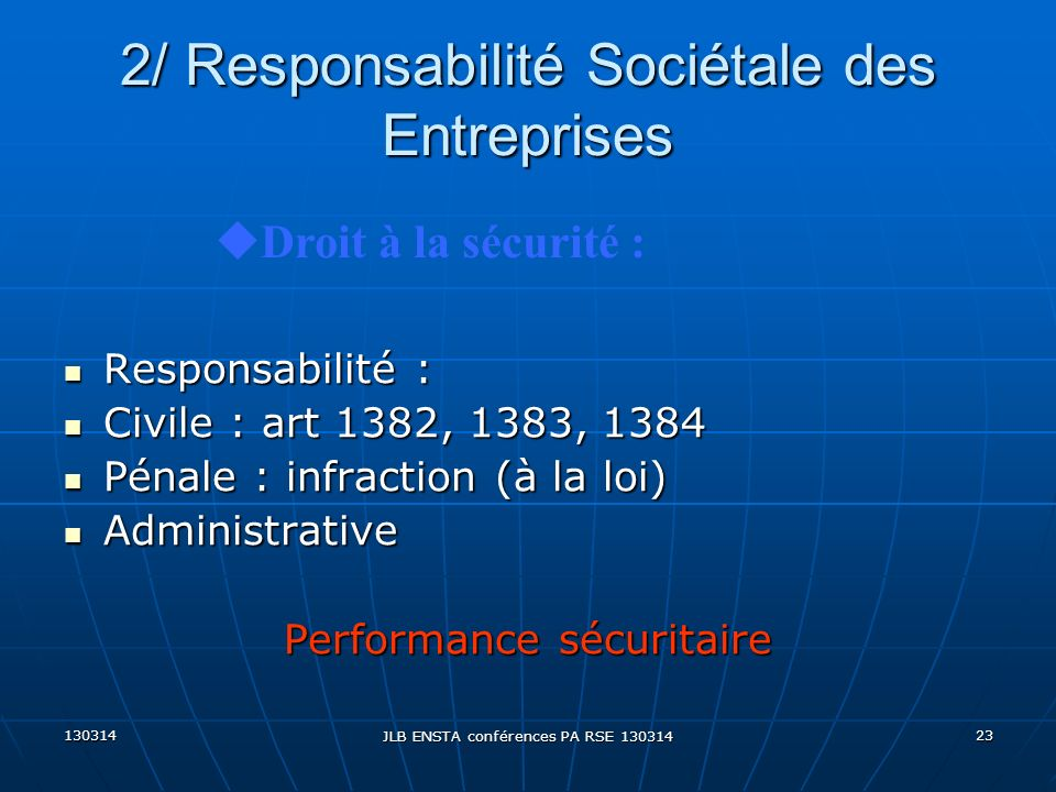 2/ Responsabilité Sociétale des Entreprises