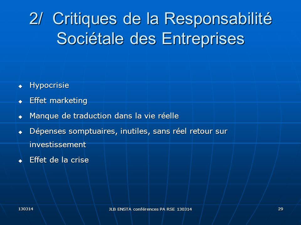 2/ Critiques de la Responsabilité Sociétale des Entreprises