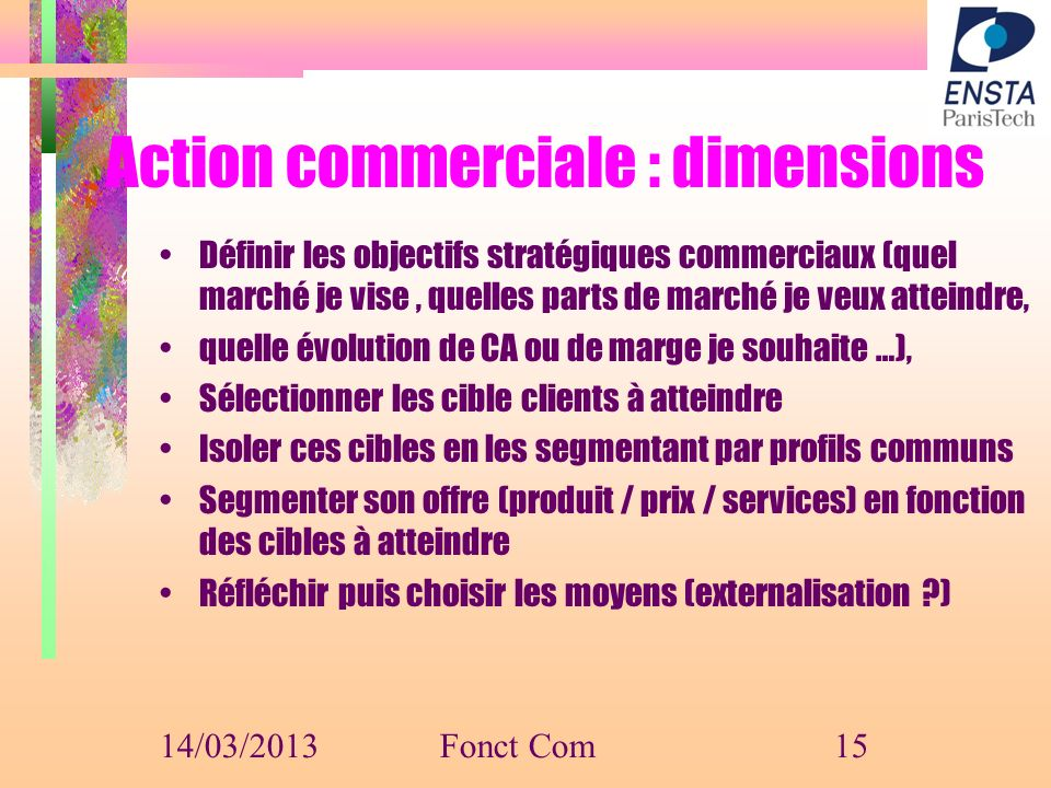 Action commerciale : dimensions