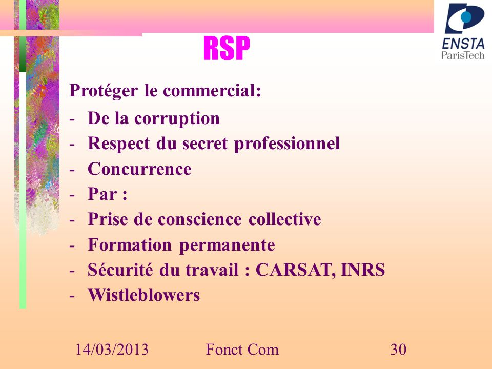 RSP Protéger le commercial: De la corruption