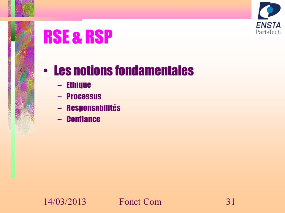 RSE & RSP Les notions fondamentales 14/03/2013 Fonct Com Ethique