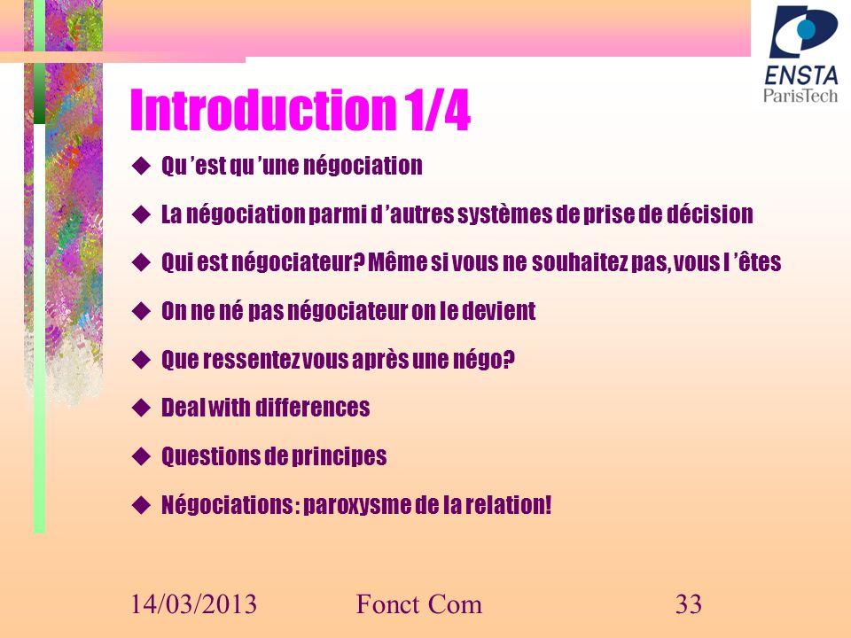 Introduction 1/4 14/03/2013 Fonct Com Qu 'est qu 'une négociation