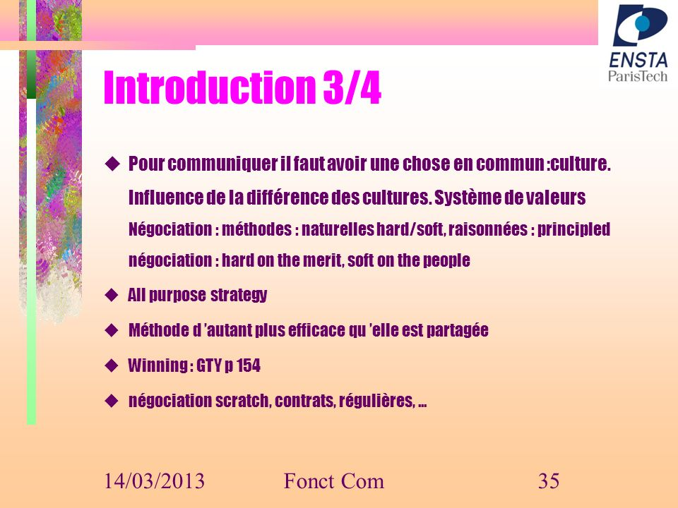 Introduction 3/4 14/03/2013 Fonct Com