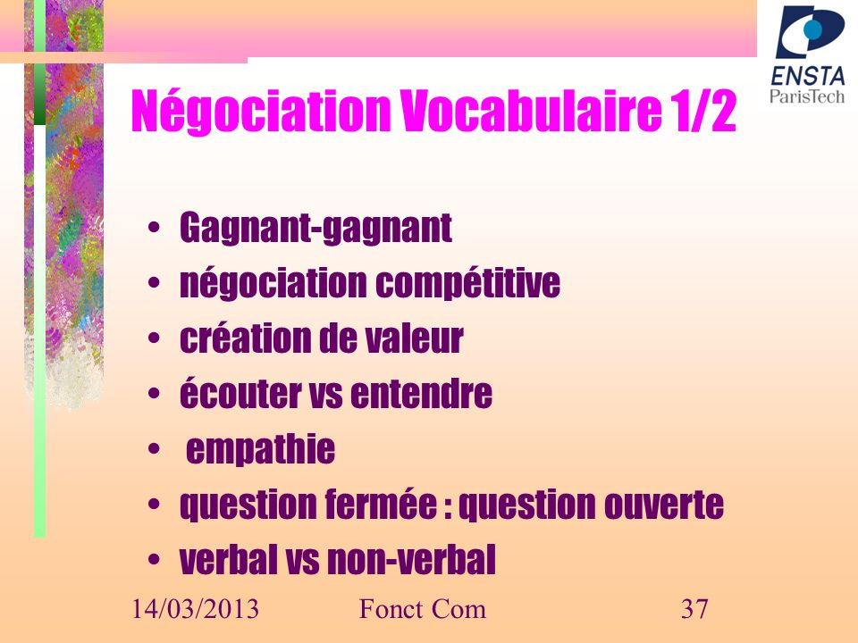 Négociation Vocabulaire 1/2