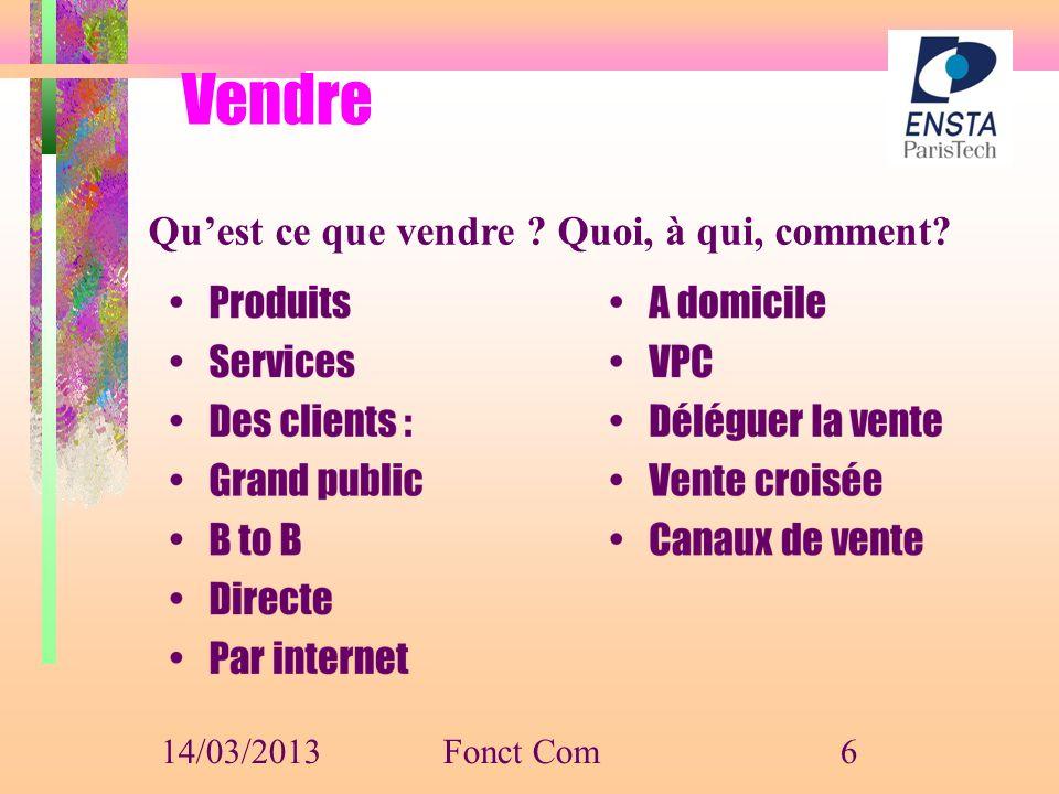 Vendre Qu'est ce que vendre Quoi, à qui, comment 14/03/2013