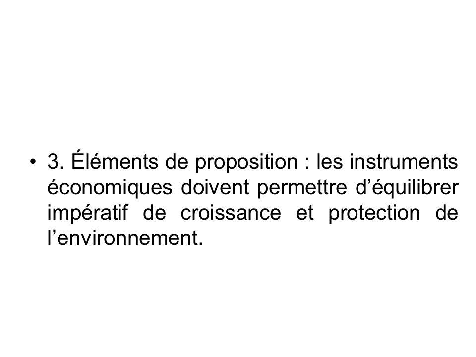 3. Éléments de proposition : les instruments économiques doivent permettre d'équilibrer impératif de croissance et protection de l'environnement.