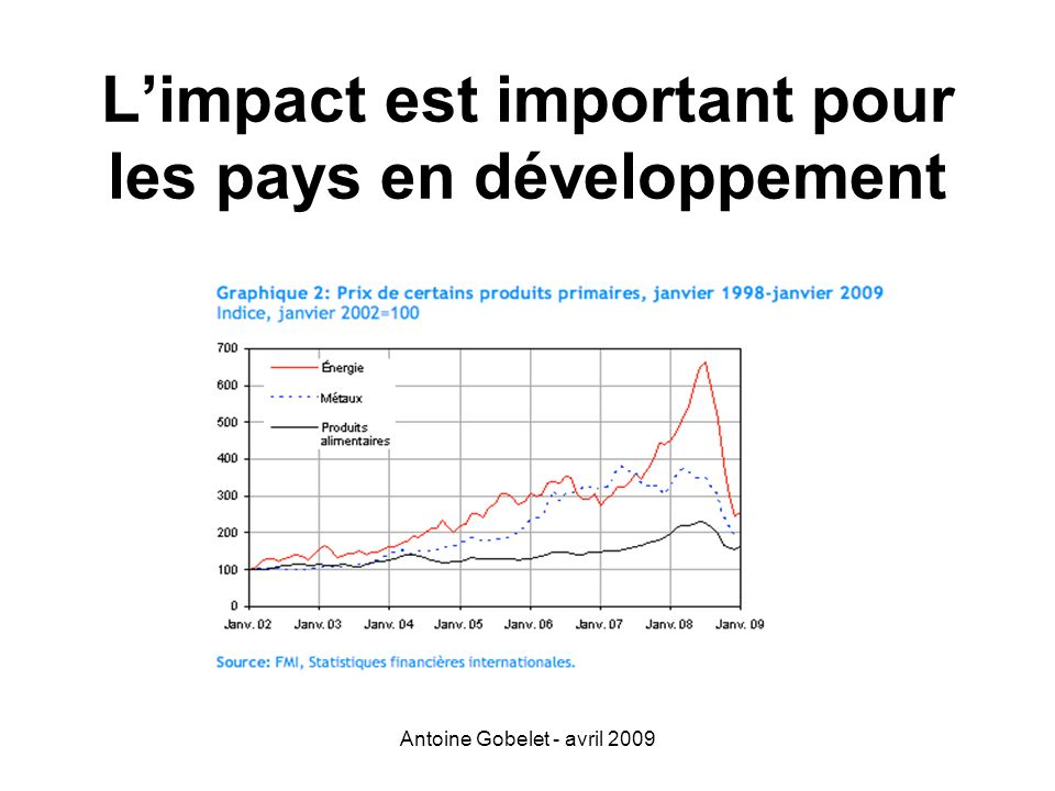 L'impact est important pour les pays en développement