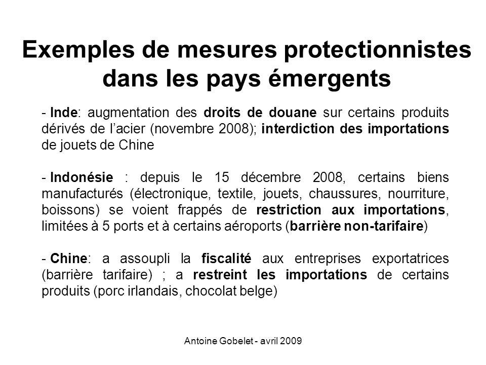 Exemples de mesures protectionnistes dans les pays émergents