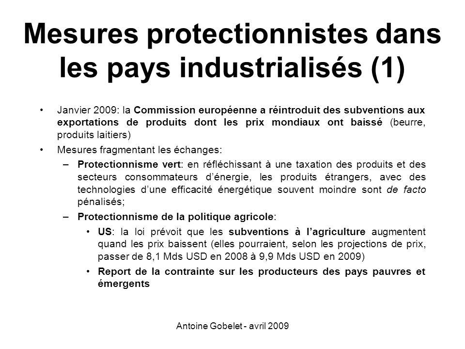Mesures protectionnistes dans les pays industrialisés (1)