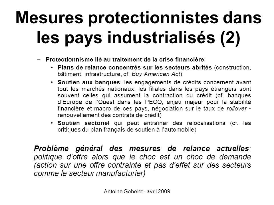 Mesures protectionnistes dans les pays industrialisés (2)