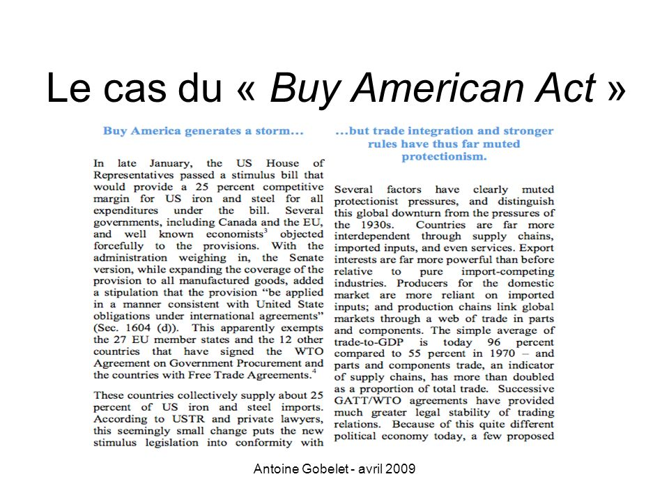 Le cas du « Buy American Act »