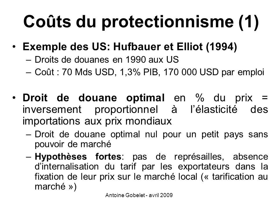 Coûts du protectionnisme (1)