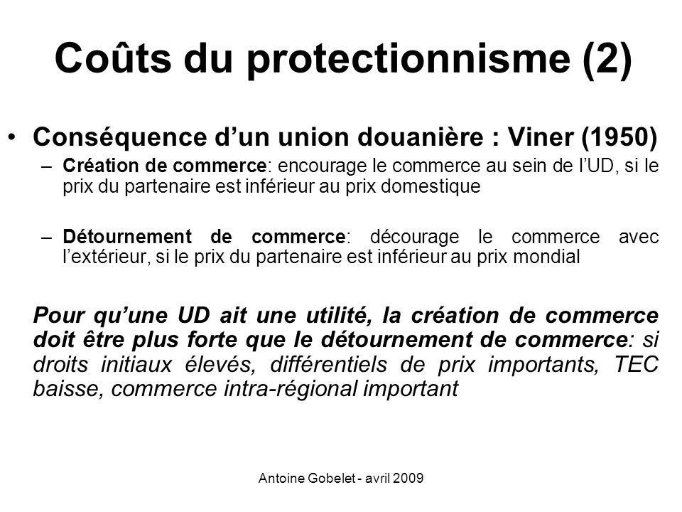 Coûts du protectionnisme (2)