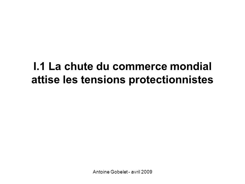 I.1 La chute du commerce mondial attise les tensions protectionnistes