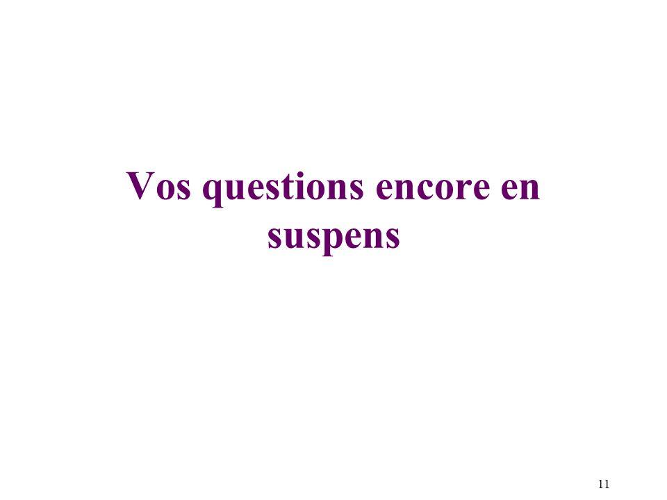 Vos questions encore en suspens