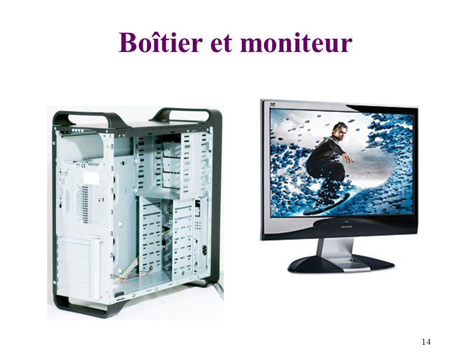 Boîtier et moniteur Moniteur : écran relié à un ordinateur