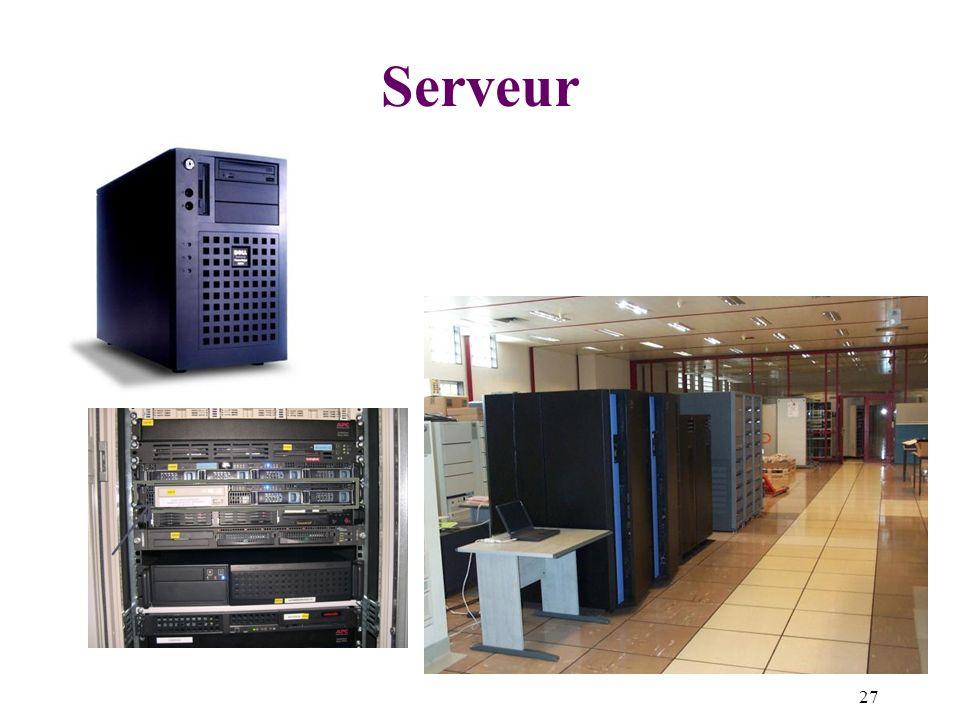 Serveur Serveur de fichiers : dispositif de disques rigides de grande capacité de mémorisation accessible à distance.