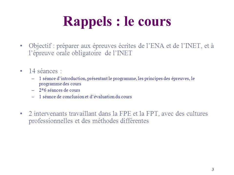 Rappels : le cours Objectif : préparer aux épreuves écrites de l'ENA et de l'INET, et à l'épreuve orale obligatoire de l'INET.