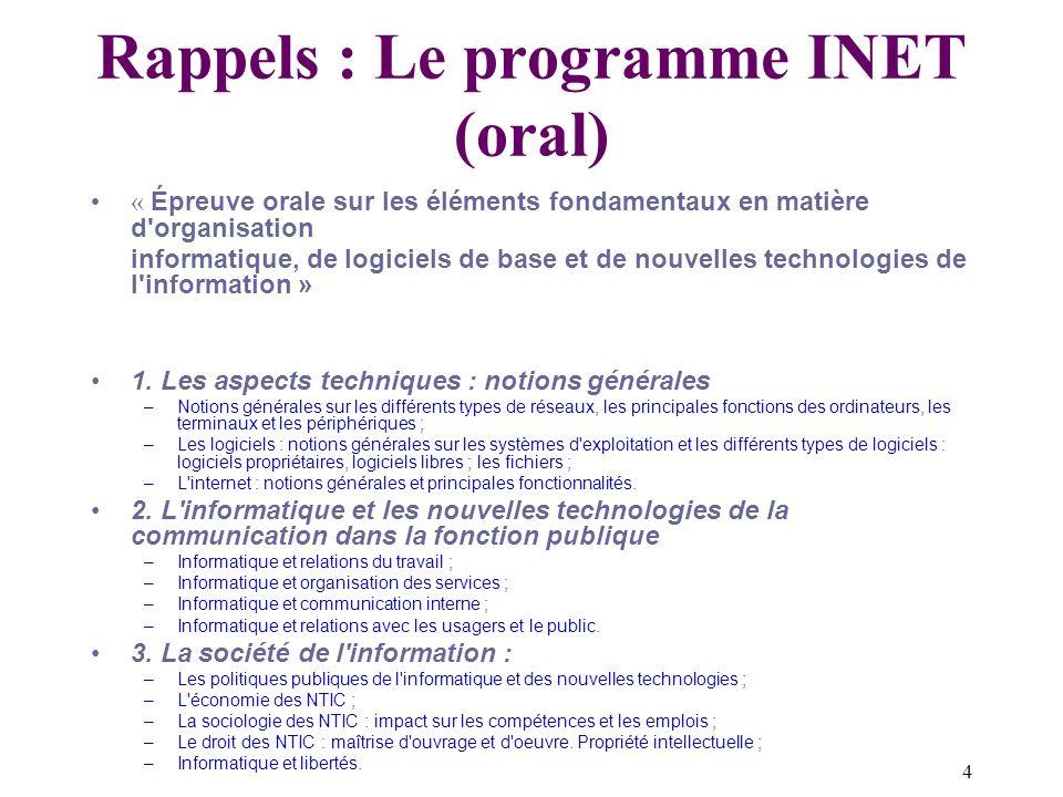 Rappels : Le programme INET (oral)