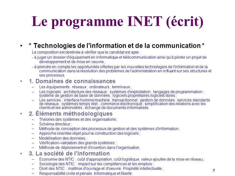Le programme INET (écrit)
