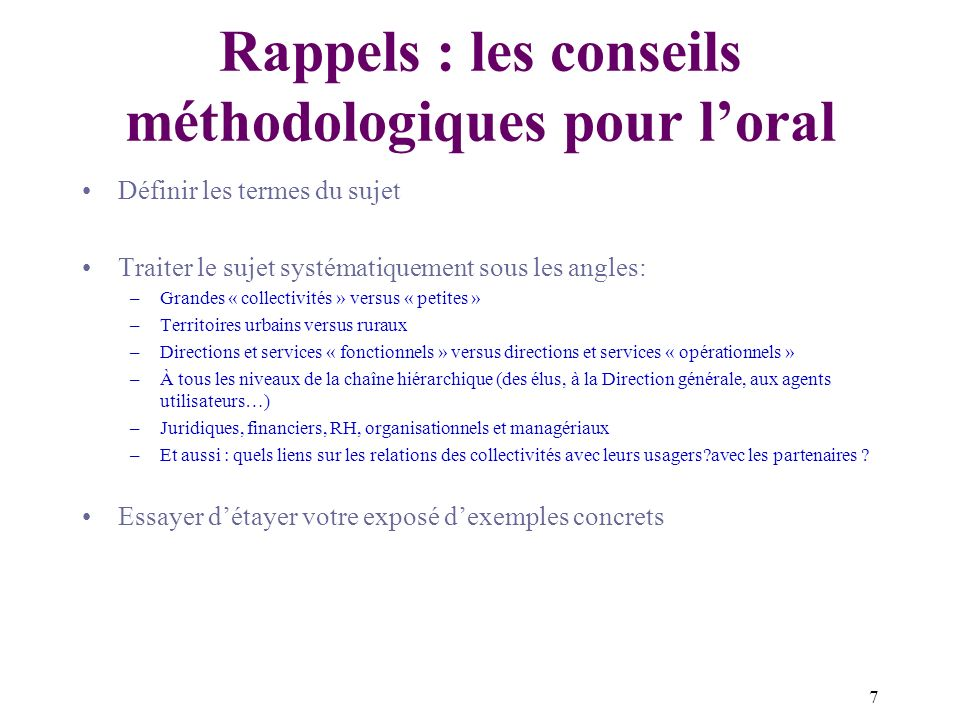 Rappels : les conseils méthodologiques pour l'oral