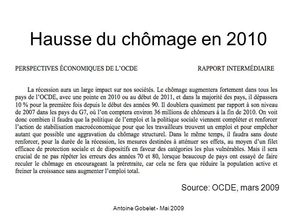 Hausse du chômage en 2010 Source: OCDE, mars 2009