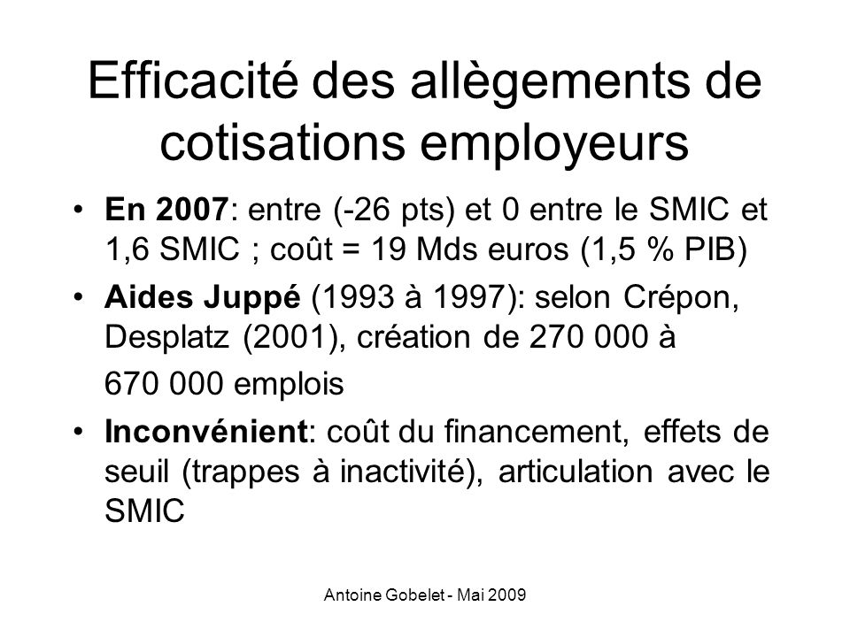 Efficacité des allègements de cotisations employeurs