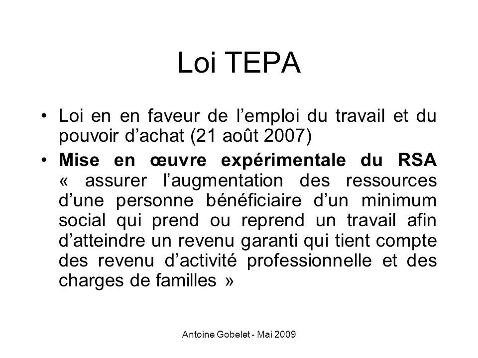 Loi TEPA Loi en en faveur de l'emploi du travail et du pouvoir d'achat (21 août 2007)