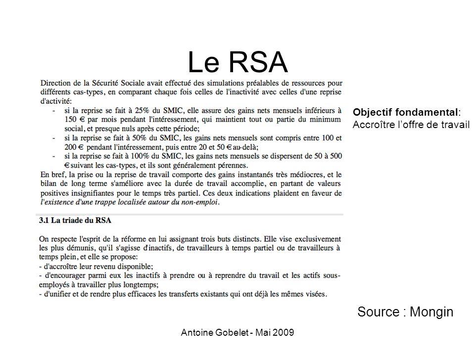 Le RSA Source : Mongin Objectif fondamental: