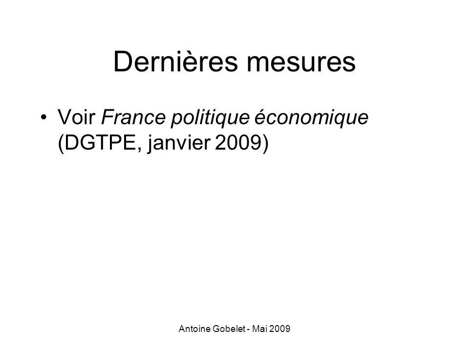 Dernières mesures Voir France politique économique (DGTPE, janvier 2009) Antoine Gobelet - Mai 2009