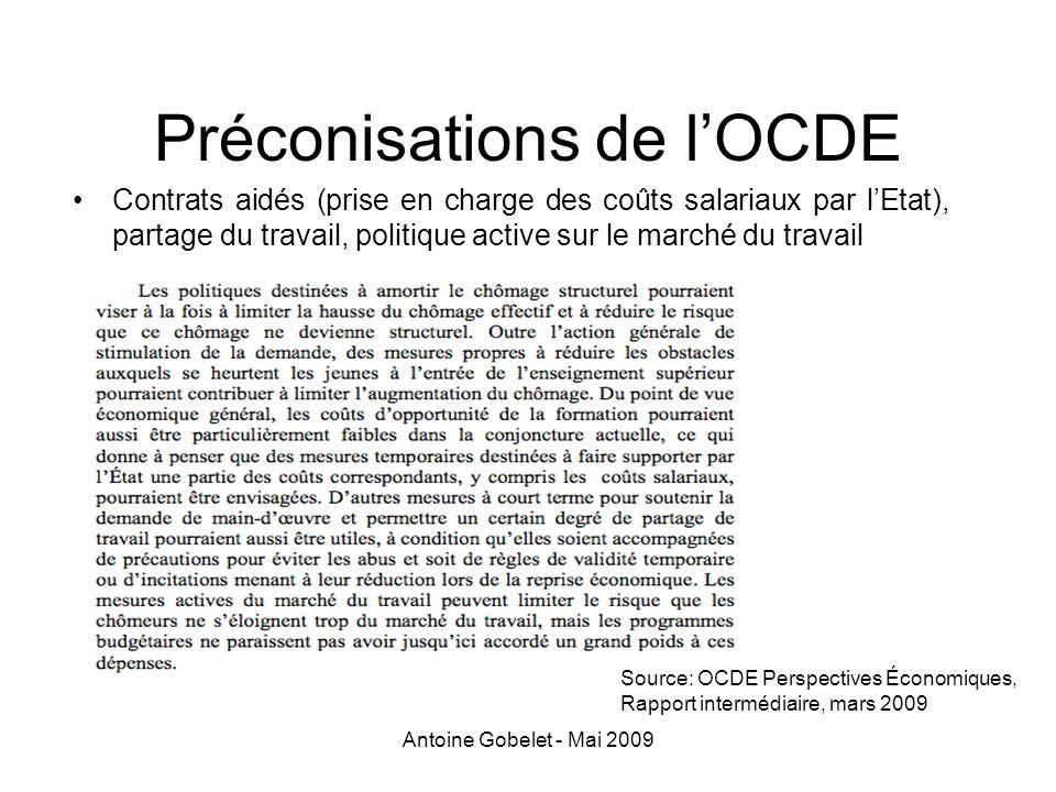 Préconisations de l'OCDE