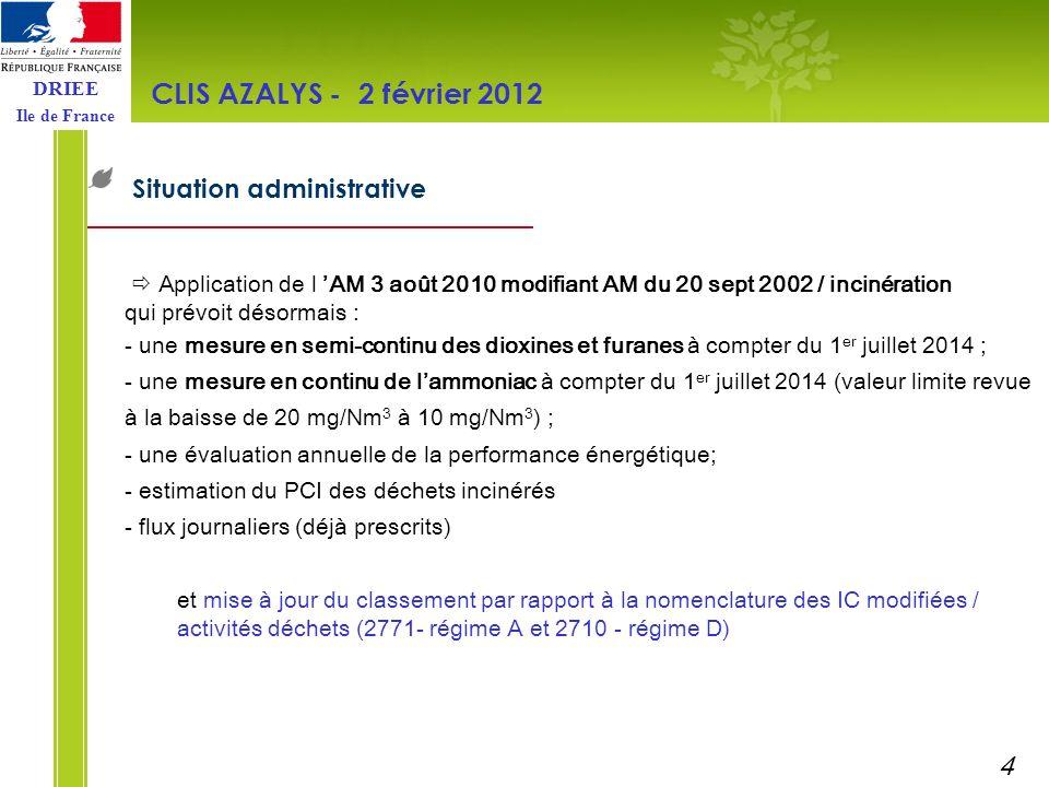 CLIS AZALYS - 2 février 2012 Situation administrative 4