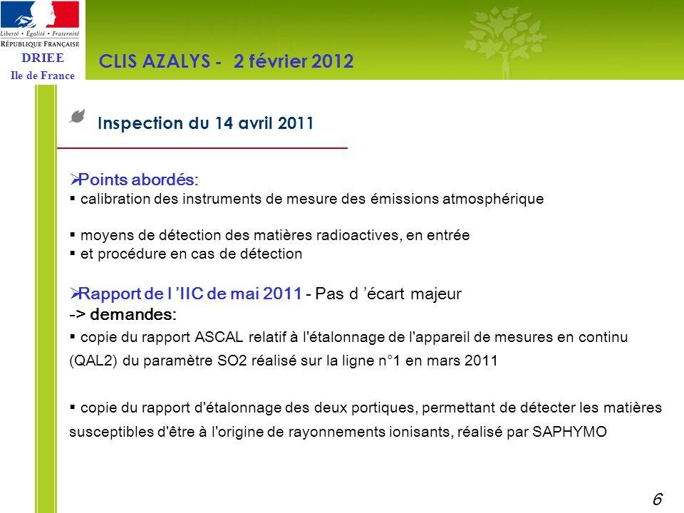 CLIS AZALYS - 2 février 2012 Inspection du 14 avril 2011