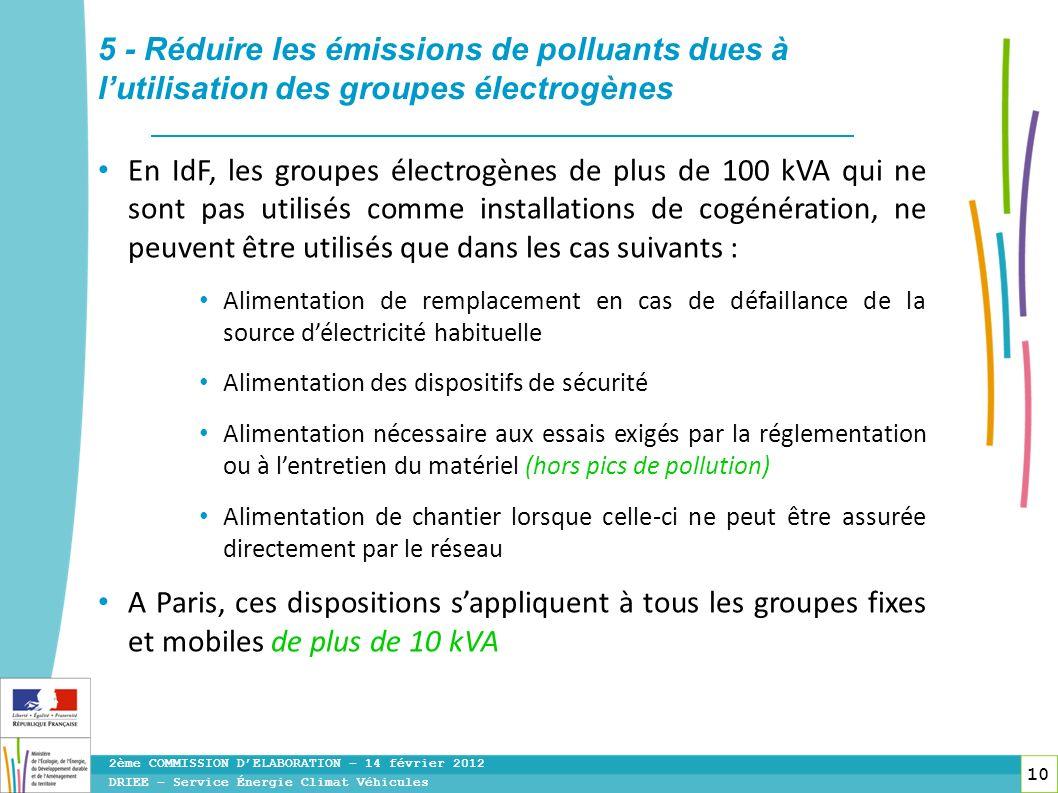 5 - Réduire les émissions de polluants dues à