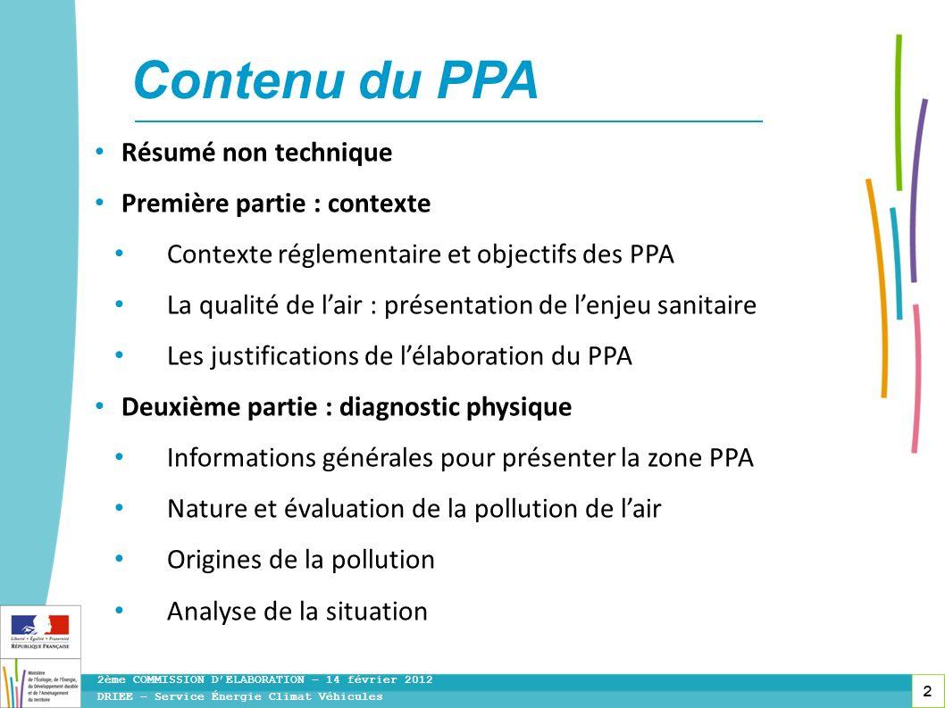 Contenu du PPA Résumé non technique Première partie : contexte