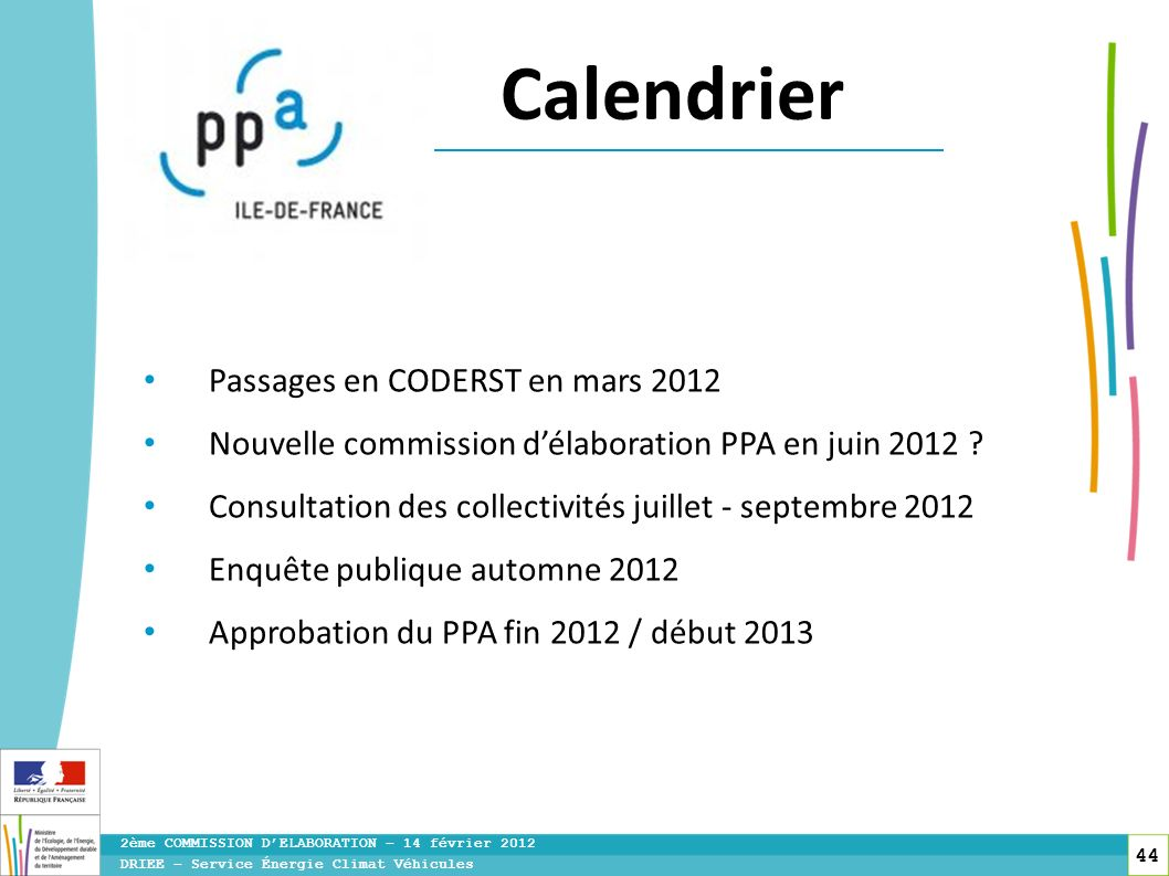 Calendrier Passages en CODERST en mars 2012