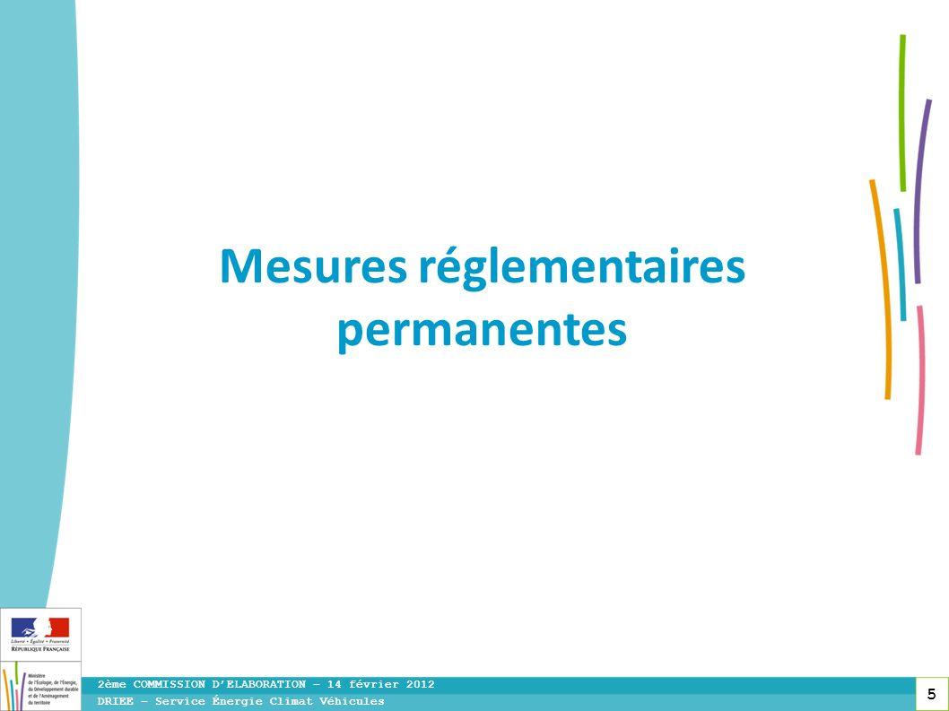 Mesures réglementaires permanentes