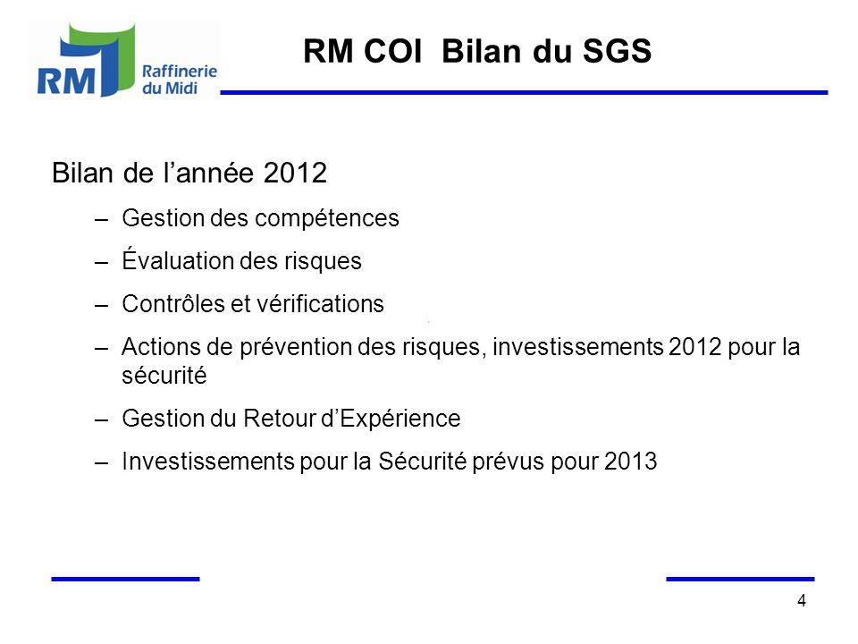 RM COI Bilan du SGS Bilan de l'année 2012 Gestion des compétences