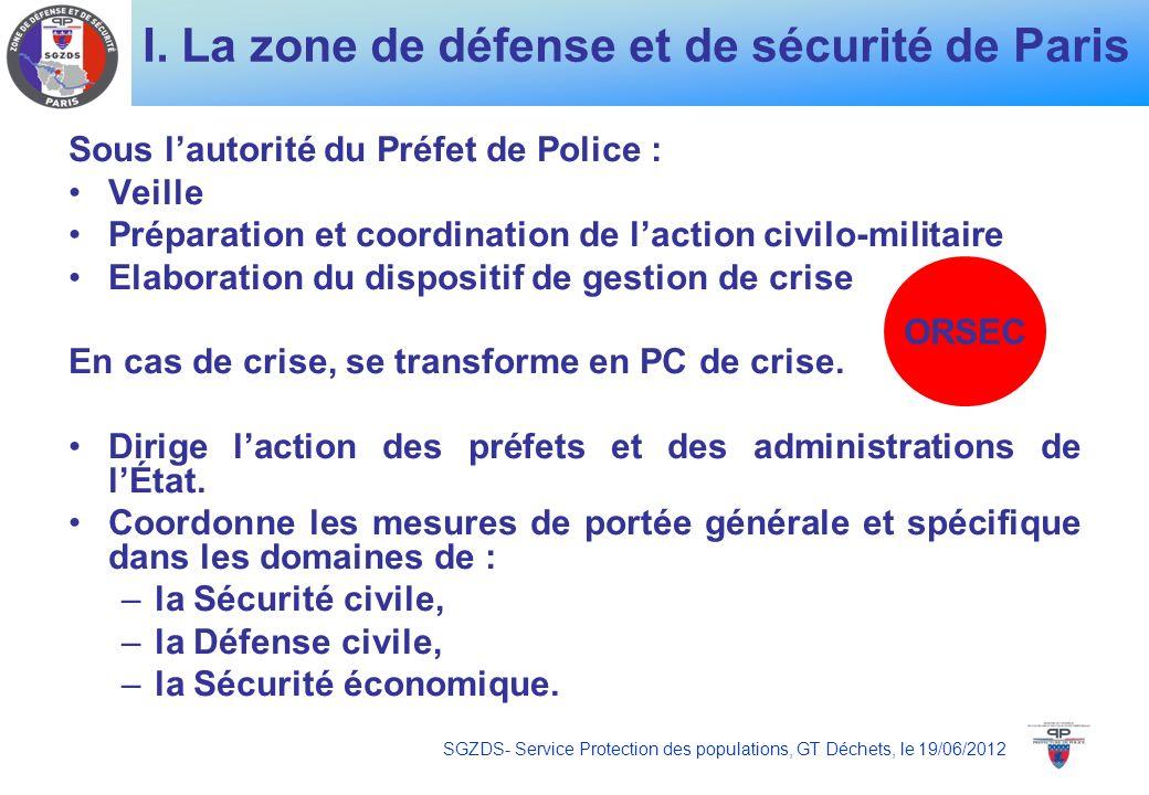 I. La zone de défense et de sécurité de Paris