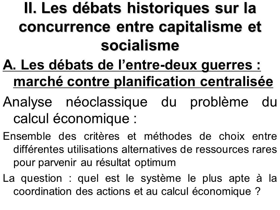 II. Les débats historiques sur la concurrence entre capitalisme et socialisme