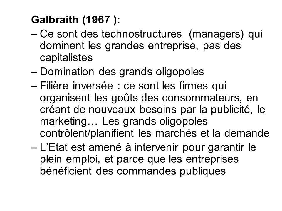Galbraith (1967 ): Ce sont des technostructures (managers) qui dominent les grandes entreprise, pas des capitalistes.