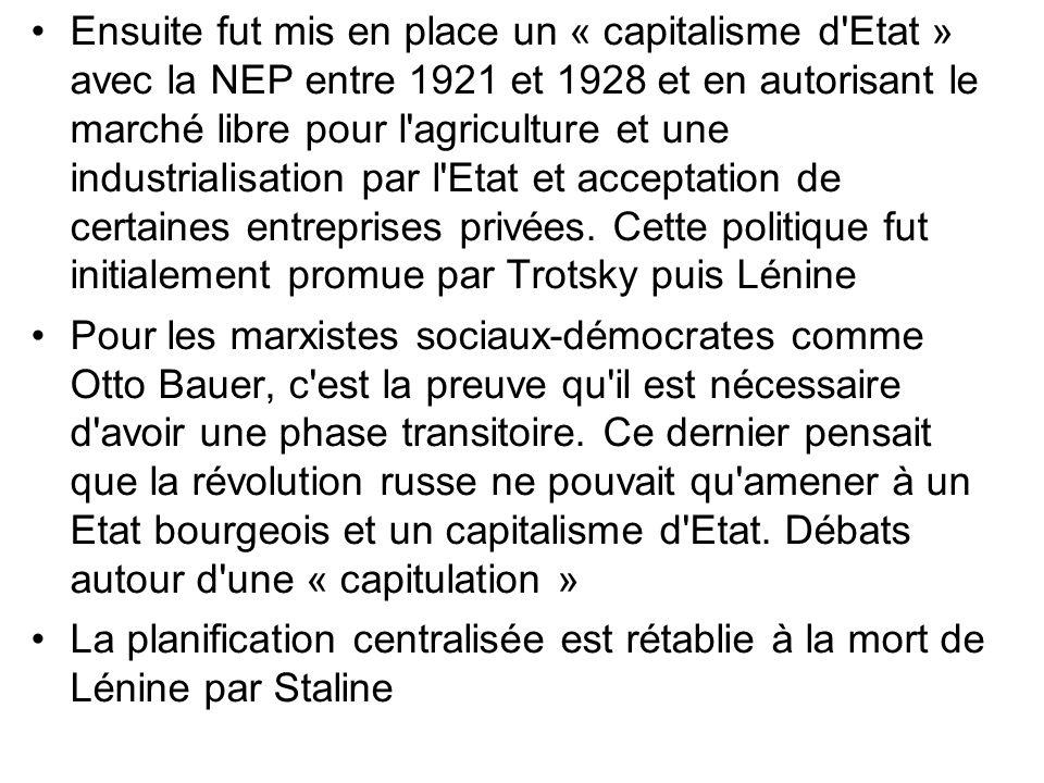 Ensuite fut mis en place un « capitalisme d Etat » avec la NEP entre 1921 et 1928 et en autorisant le marché libre pour l agriculture et une industrialisation par l Etat et acceptation de certaines entreprises privées. Cette politique fut initialement promue par Trotsky puis Lénine