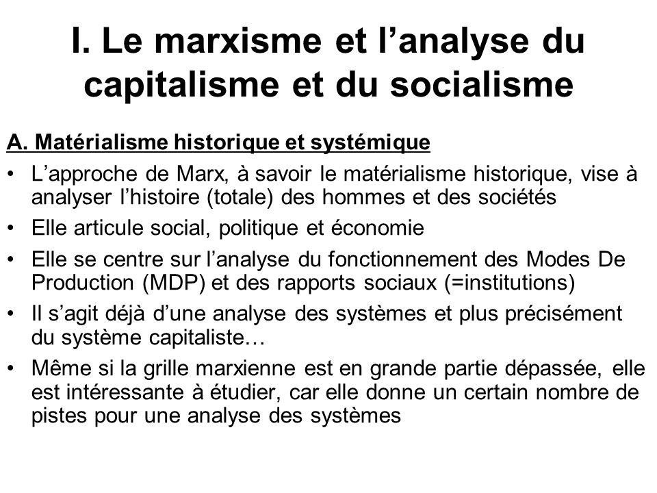 I. Le marxisme et l'analyse du capitalisme et du socialisme