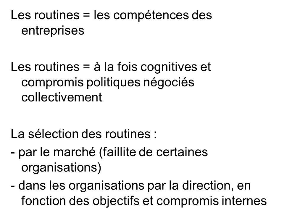 Les routines = les compétences des entreprises